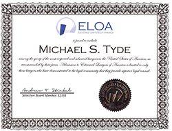 Michael Tyde ELOA CERTIFICATE